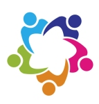 Teamwork union 5 people logo vector
